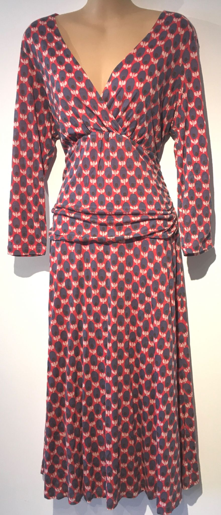 Boden Coral Navy Printed Cross Over Dress Size Uk 14l