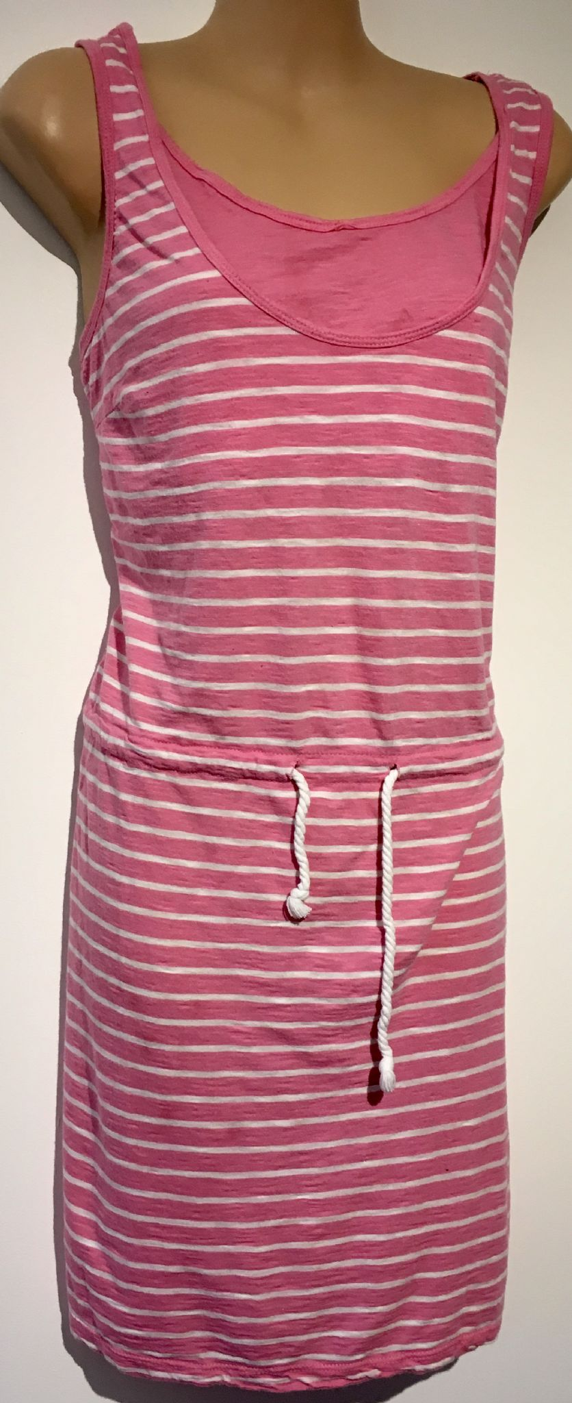 7fa30d53be71a H&M MAMA PINK STRIPE SUMMER NURSING DRESS SIZE M 12