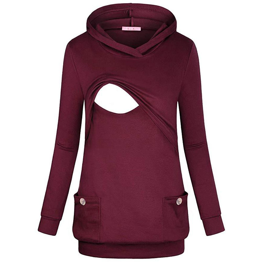 LONG BREASTFEEDING HOODIE BURGUNDY WITH FRONT POCKETS SIZES UK 10-18