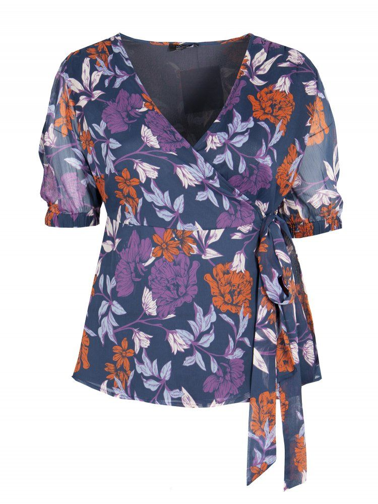 LOVEDROBE BLUE BLOOMS WRAP TOP BNWT SIZES 16-26