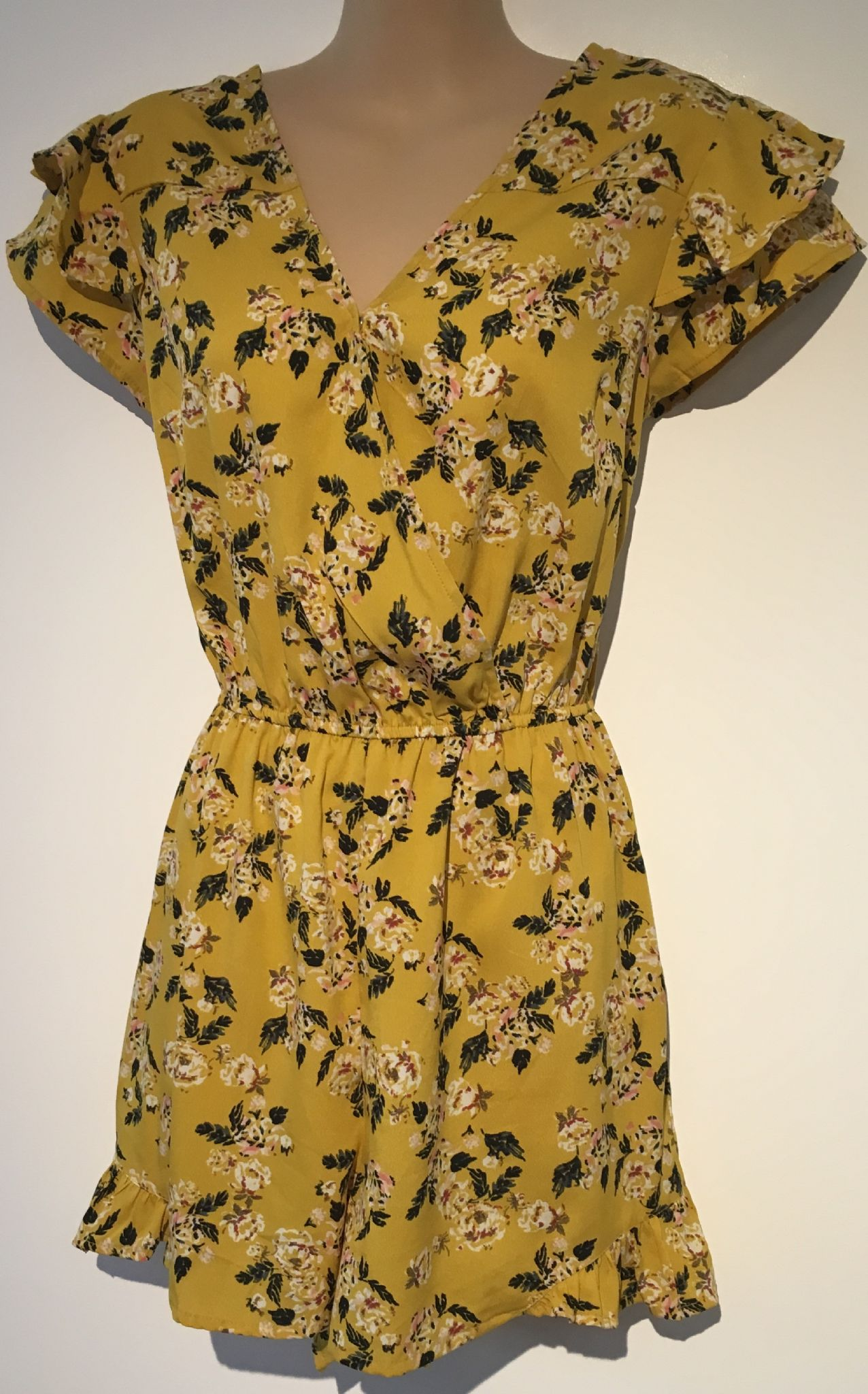 speical offer outlet store sale luxury aesthetic PRIMARK YELLOW FLORAL CROSS OVER PLAYSUIT SIZE UK 12